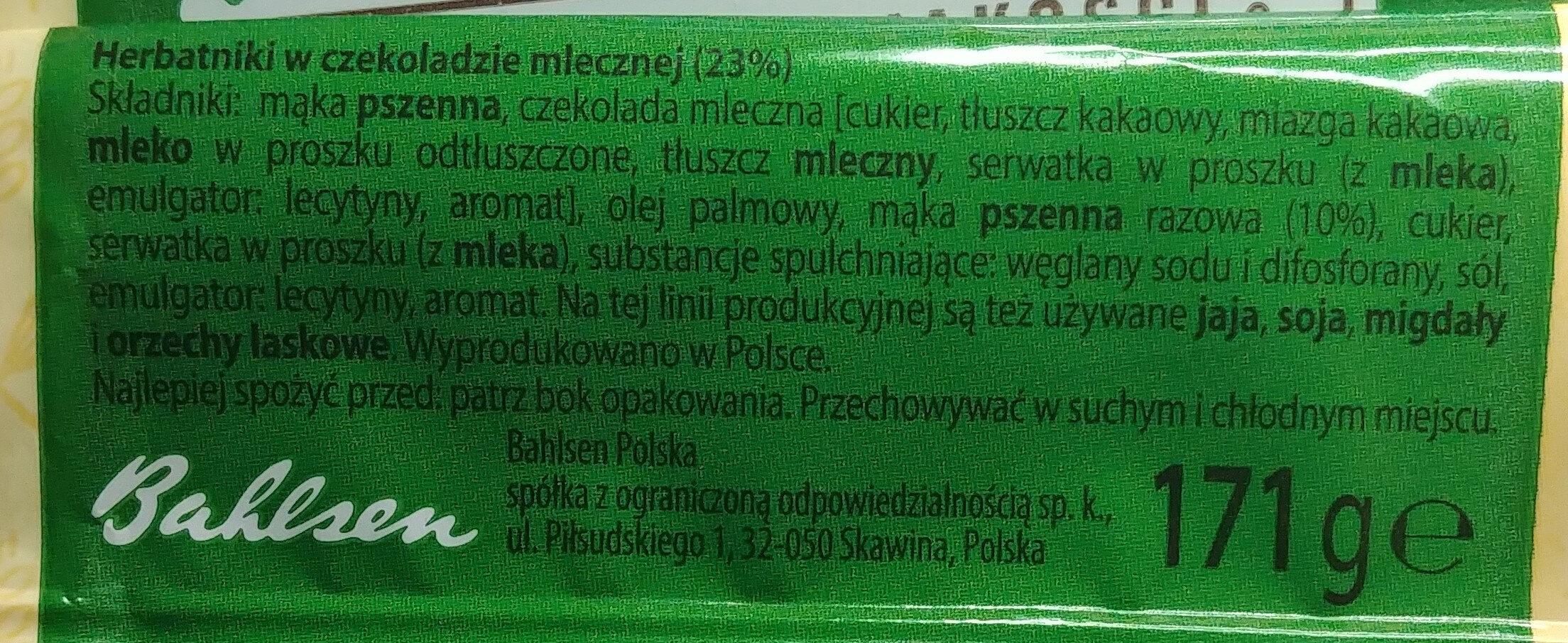 Herbatniki w czekoladzie mlecznej 23%. - Składniki