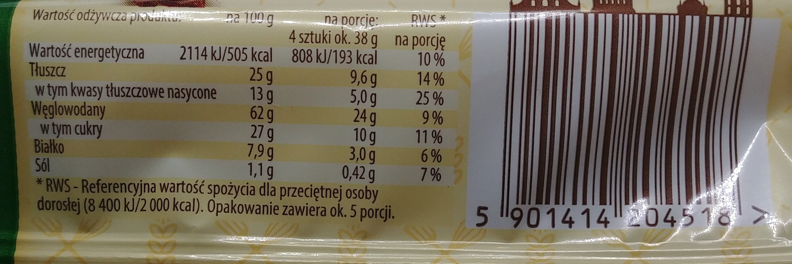 Herbatniki w czekoladzie mlecznej 23%. - Nutrition facts - pl