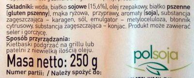 Vege Kiełbaski Białe - Składniki - pl