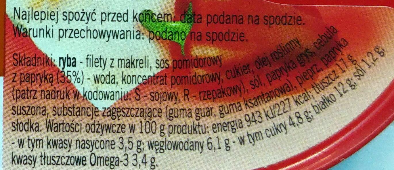 Filety z makreli w sosie pomidorowym z papryką. - Nutrition facts