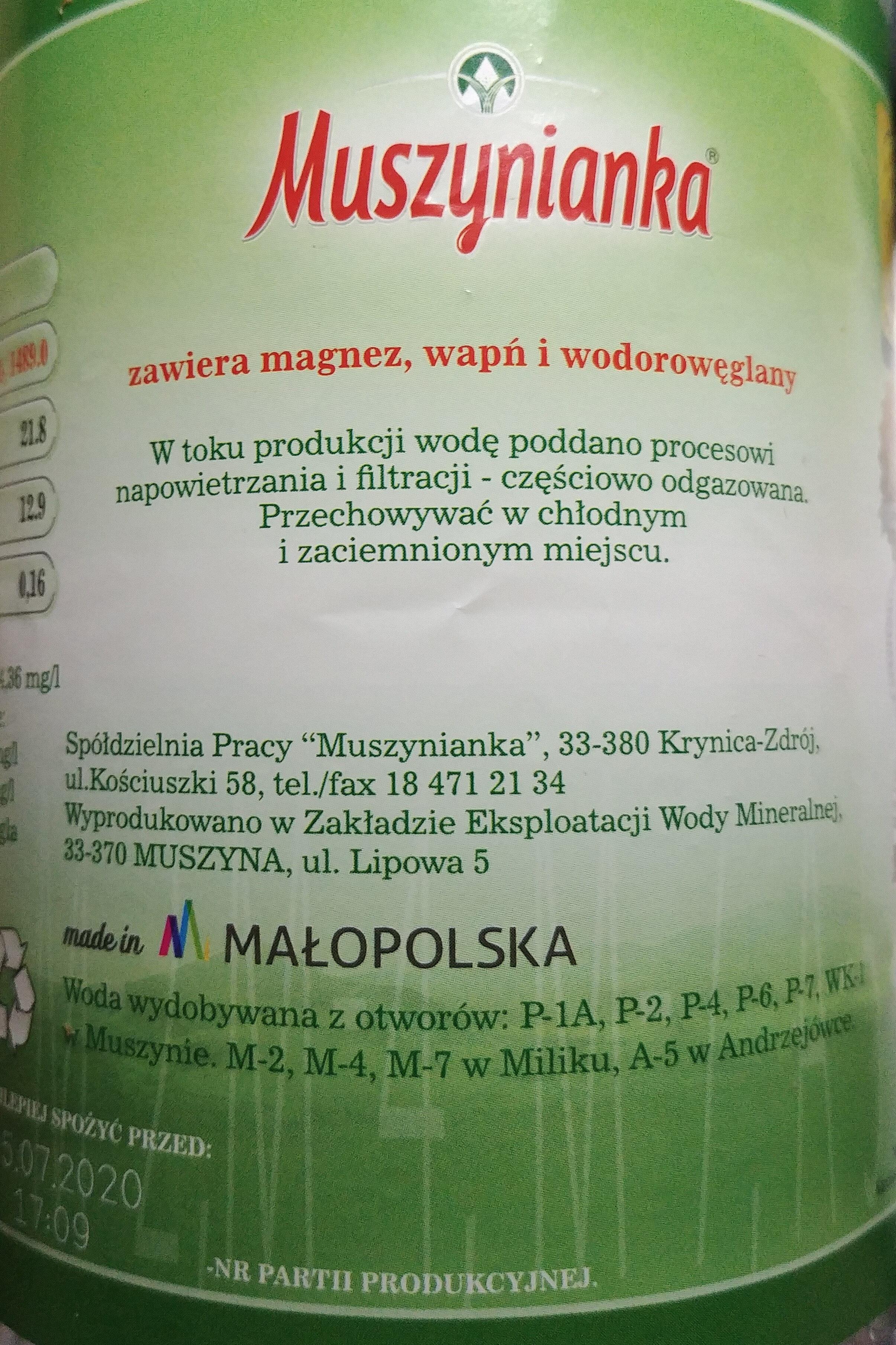 Water Mineral Muszynianka Still 1.5L 1 / 6 - Składniki - pl