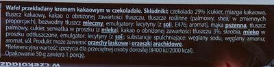 Wafel przekładany kremem kakaowym w czekoladzie - Ingredients - pl