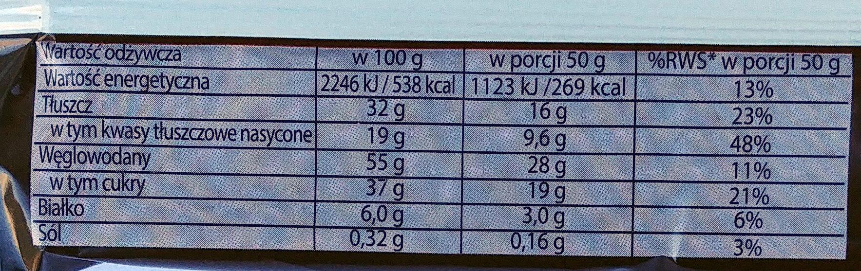 Wafel przekładany kremem kakaowym w czekoladzie - Nutrition facts - pl