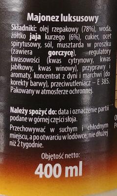 Majonez - Składniki