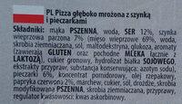 Pizza głęboko mrożona z szynką i pieczarkami. - Składniki