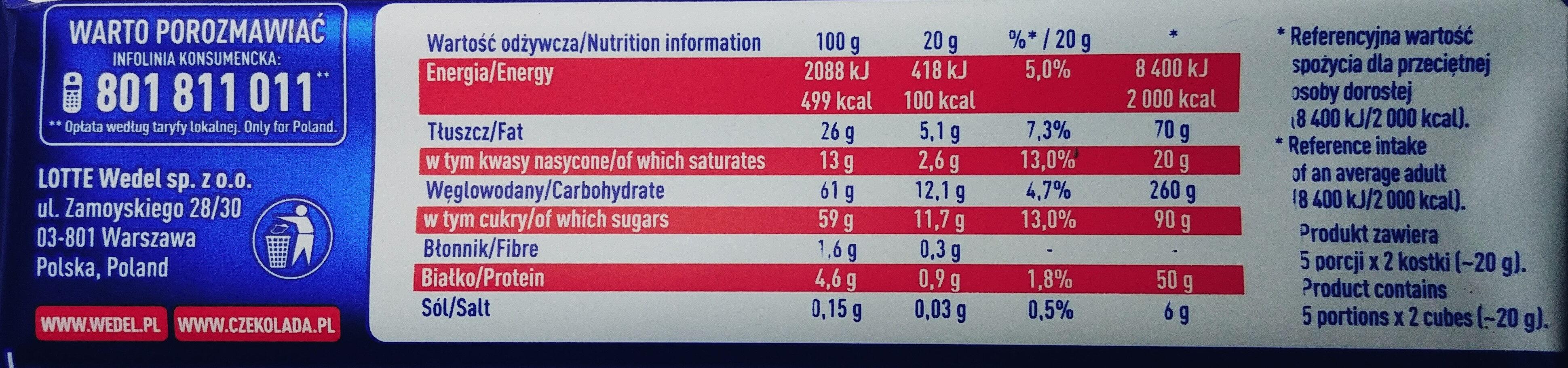 Czekolada mleczna z nadzieniem truskawkowym - Wartości odżywcze - pl