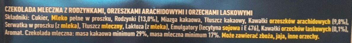 Chocolate Nuts & Raisins - Składniki - pl