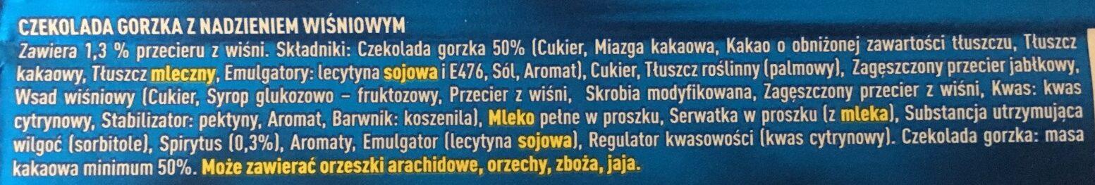 Czekolada gorzka Wiśniowa - Składniki - pl