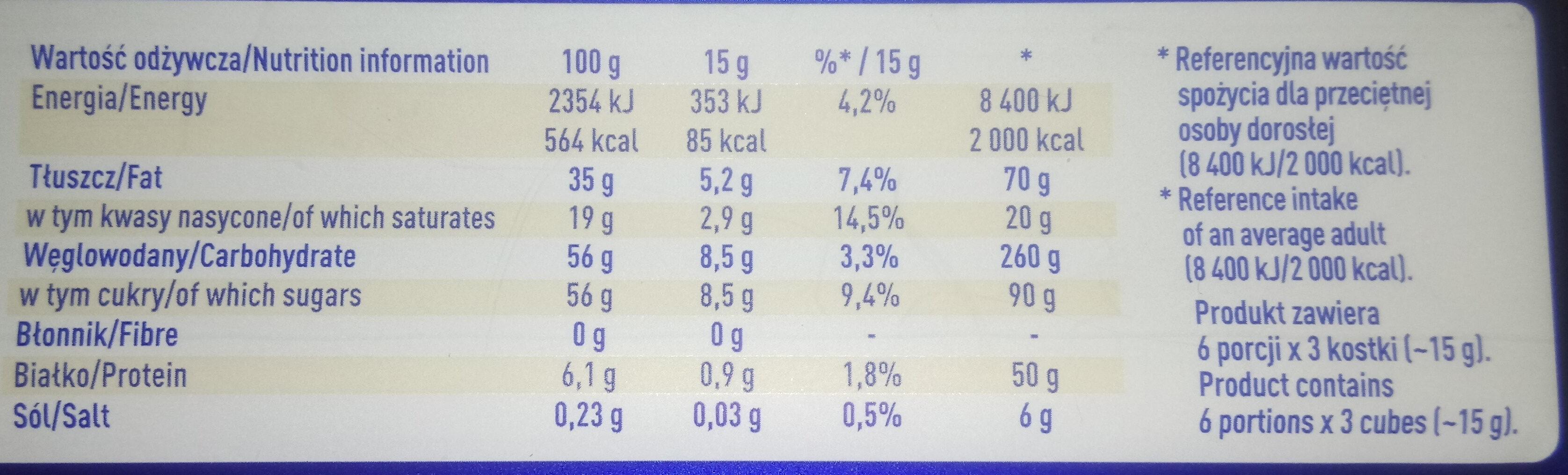Czekolada biała - Nutrition facts