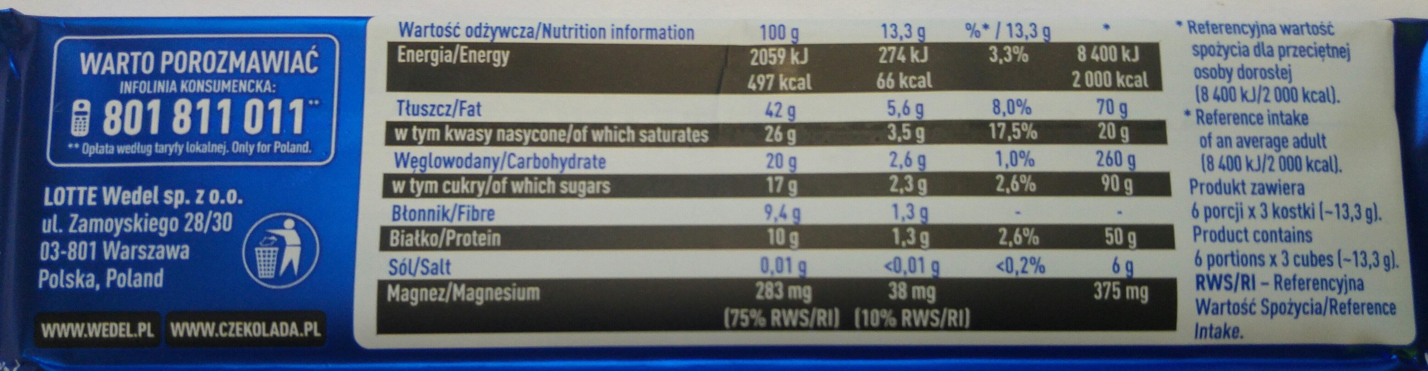 Dark chocolate 80% cocoa, mocno gorzka - Nutrition facts - en
