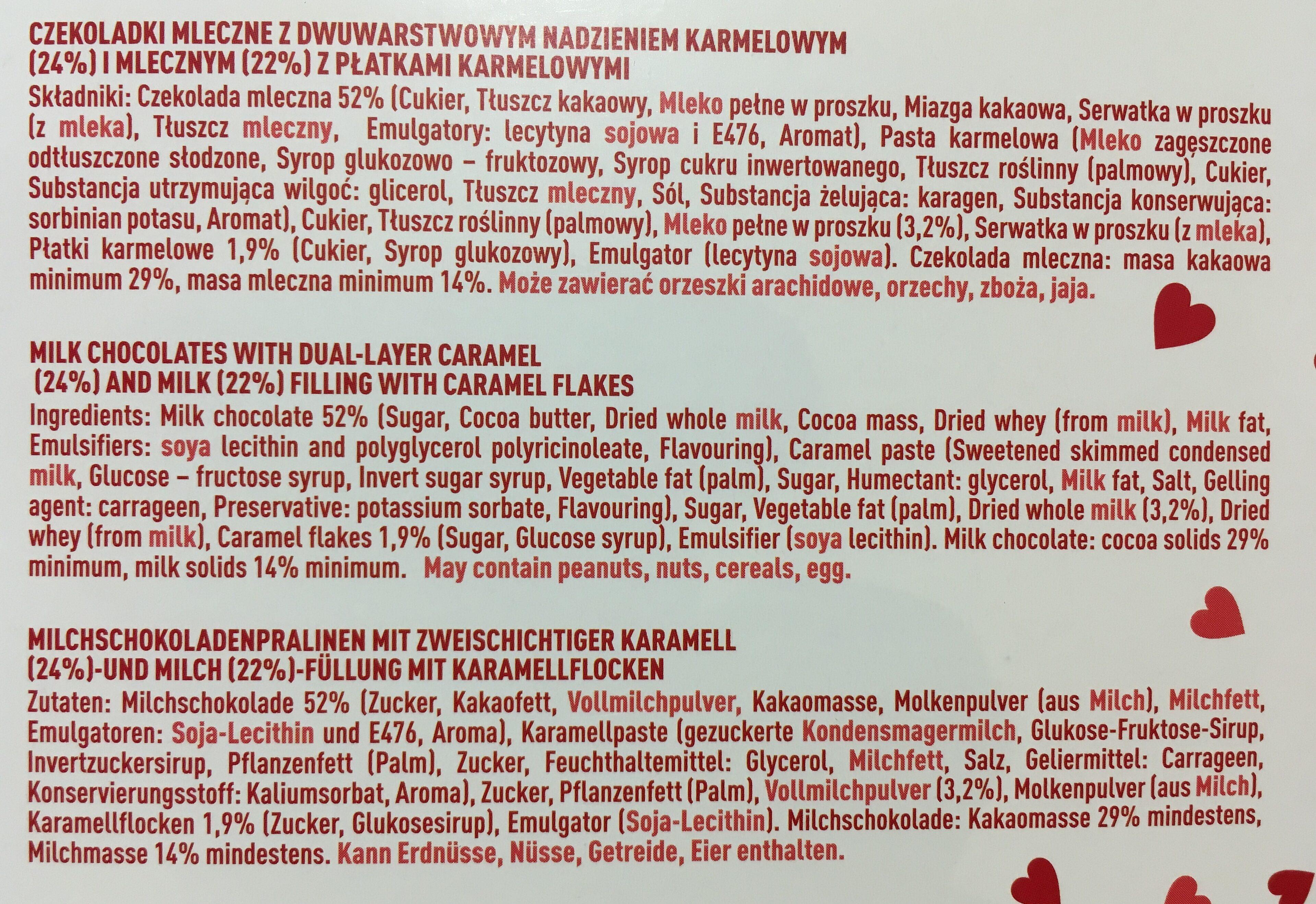E. Wedel Wedlove Czekoladki Mleczne z Dwuwarstwowym Nadzieniem 117 g - Ingredients