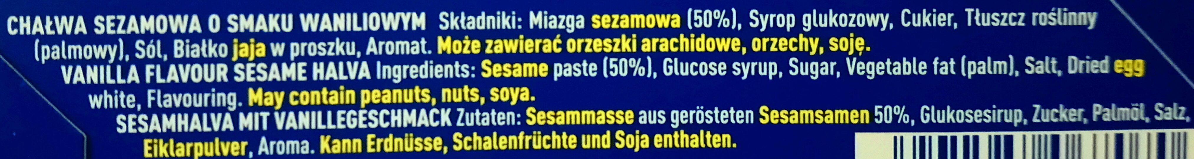 Sesame halva - Składniki - pl