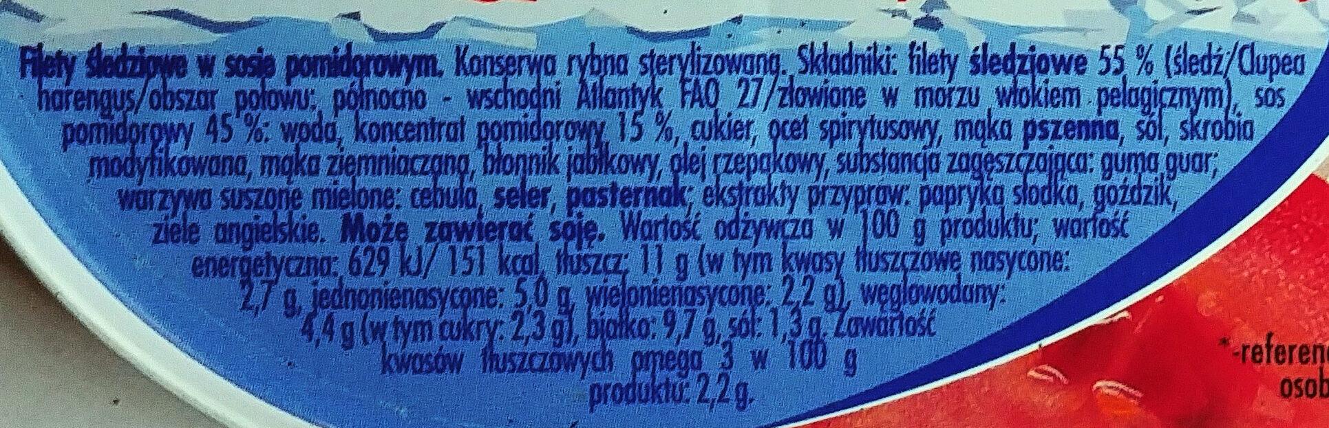 Filety śledziowe w sosie pomidorowym - Ingrediënten - pl