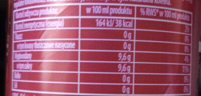 Cola original - Wartości odżywcze - pl