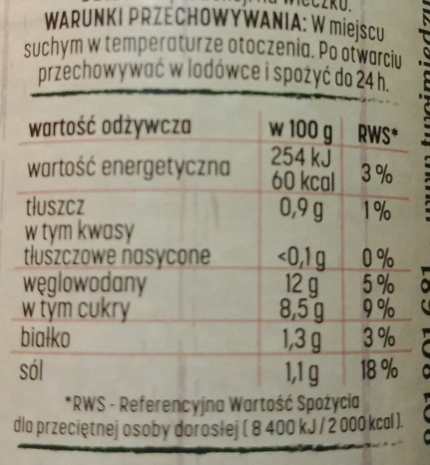 Sos pomidorowy - Nutrition facts - pl
