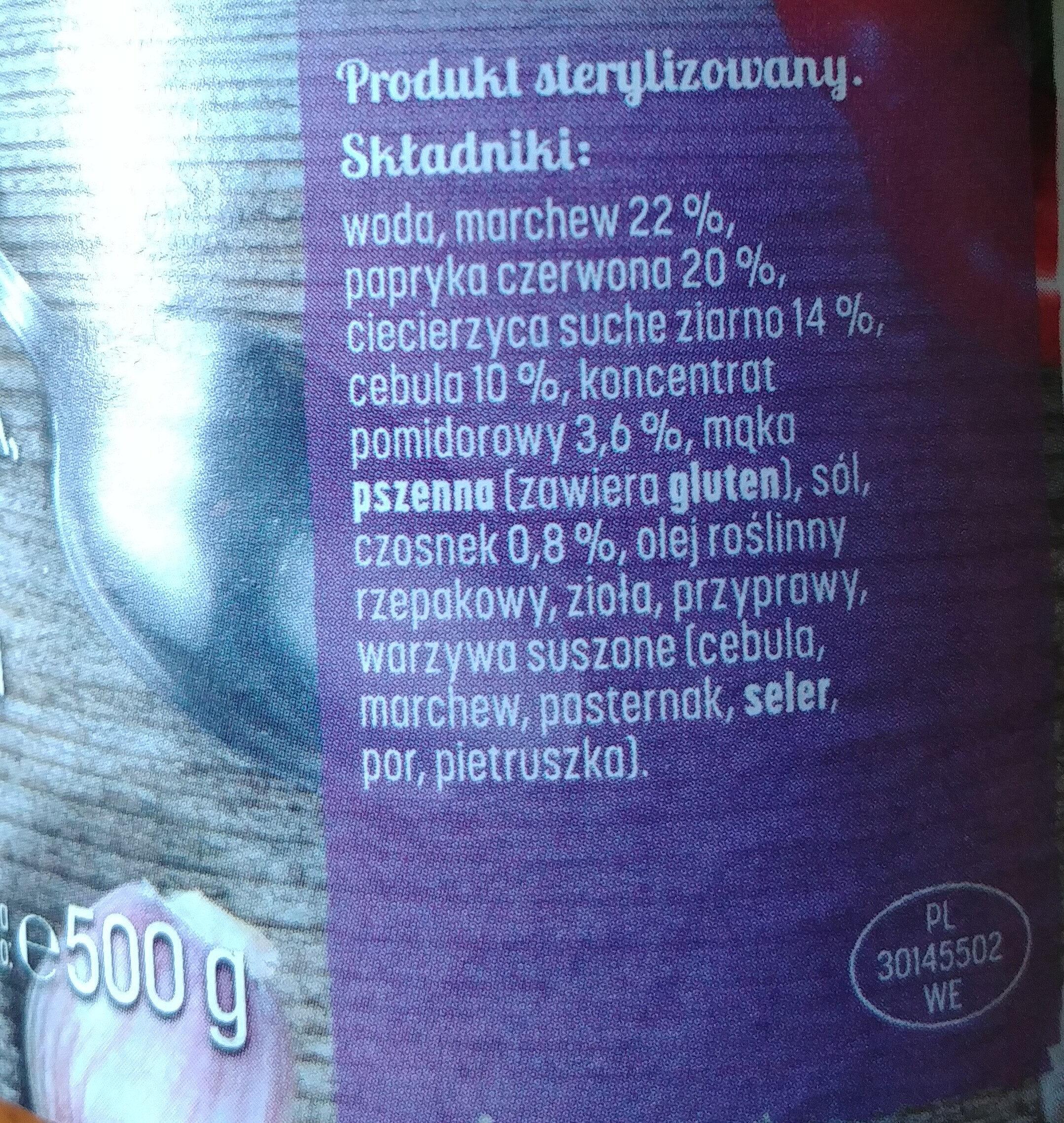 Ciecierzyca w warzywach - Składniki - pl