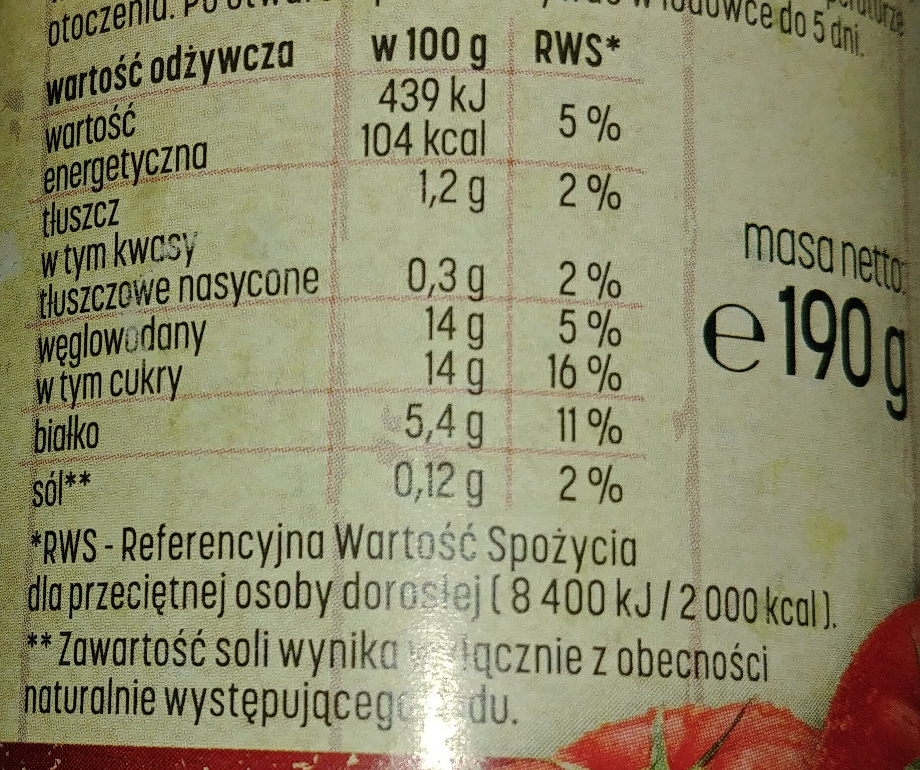 Koncentrat pomidorowy 30% - Nutrition facts - pl