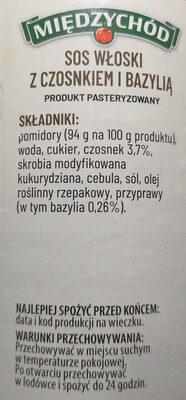 Sos włoski z czosnkiem i bazylią. - Ingredients - pl