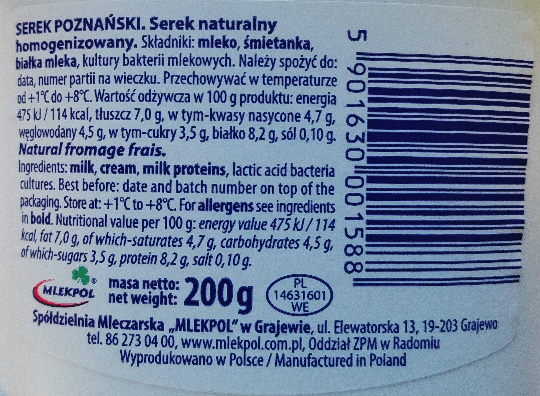 Serek poznański naturalny - Ingrédients