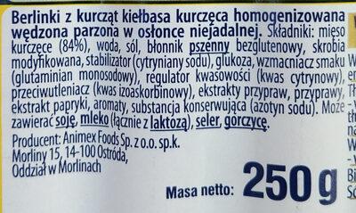 Kiełbasa kurczęca homogenizowana wędzona parzona w osłonce niejadalnej. - Składniki - pl