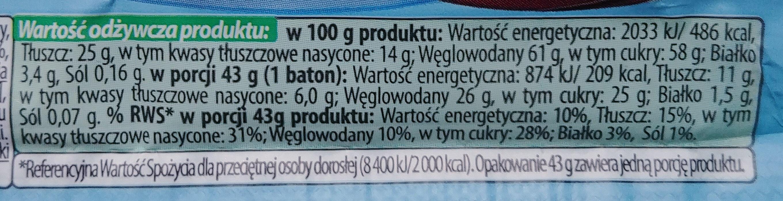 Baton z czekolady mlecznej - Informations nutritionnelles - pl
