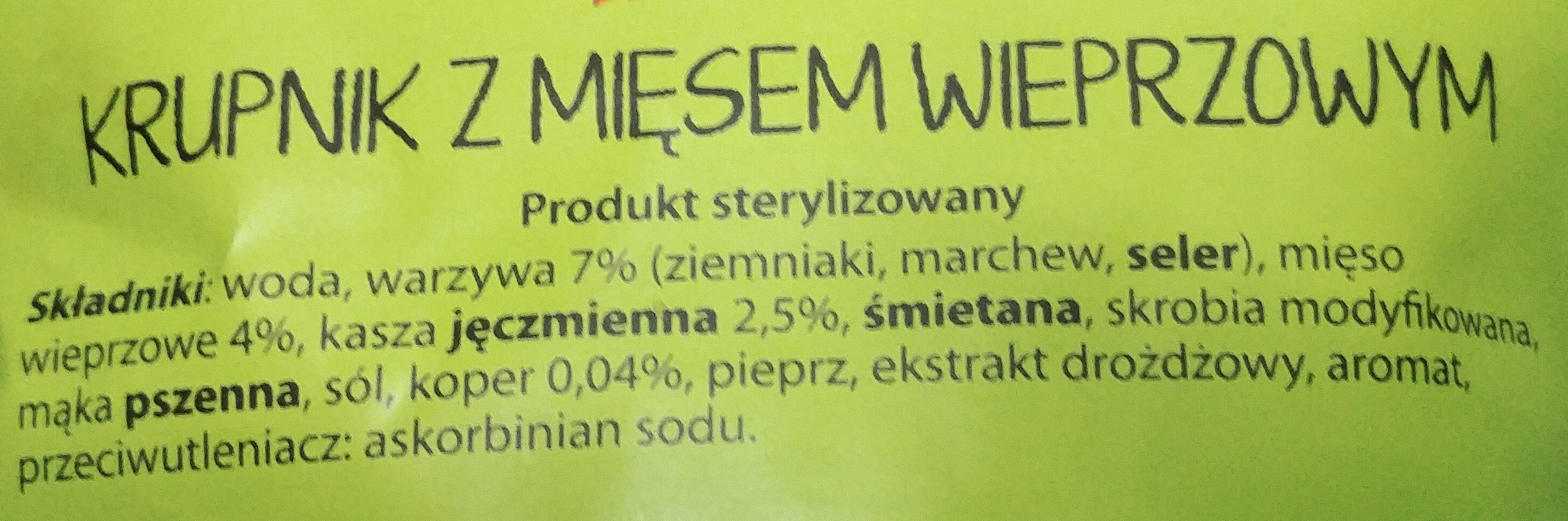 Krupnik z mięsem wieprzowym - Składniki - pl