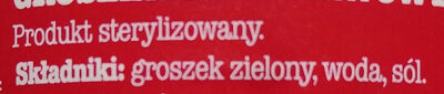 Groszek zielony konserwowy - Składniki