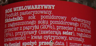Sok wielowarzywny - Ingredients - pl
