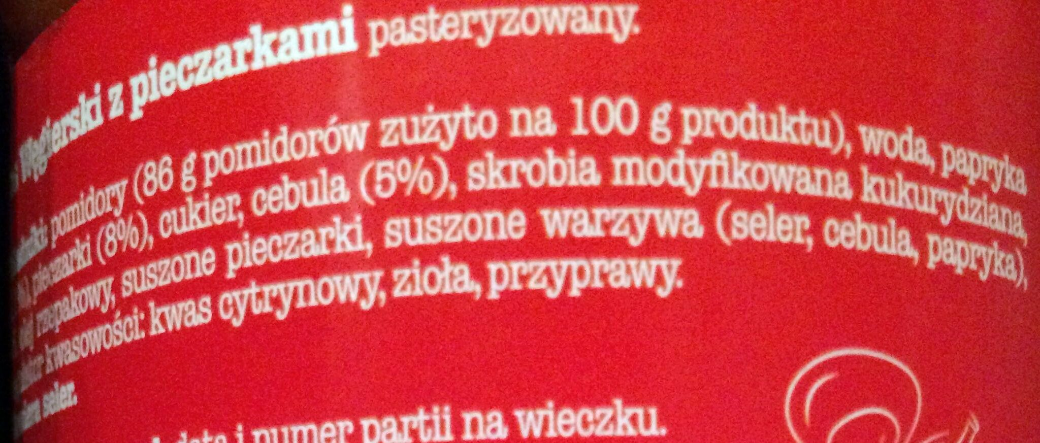 Sos Węgierski z Pieczarkami - Ingrédients - pl