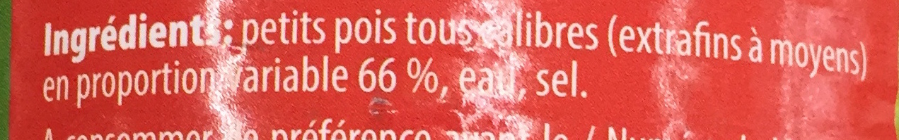 Mélange de petits pois non calibrés - Ingredients - fr