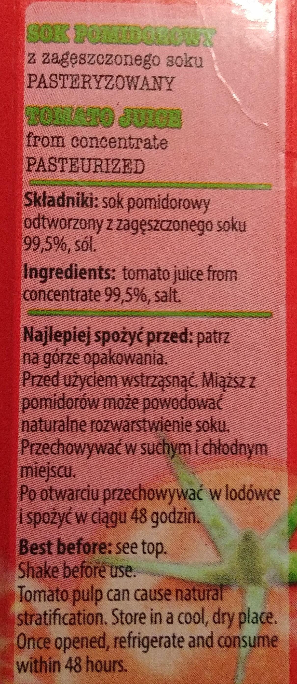 Sok pomidorowy - Składniki