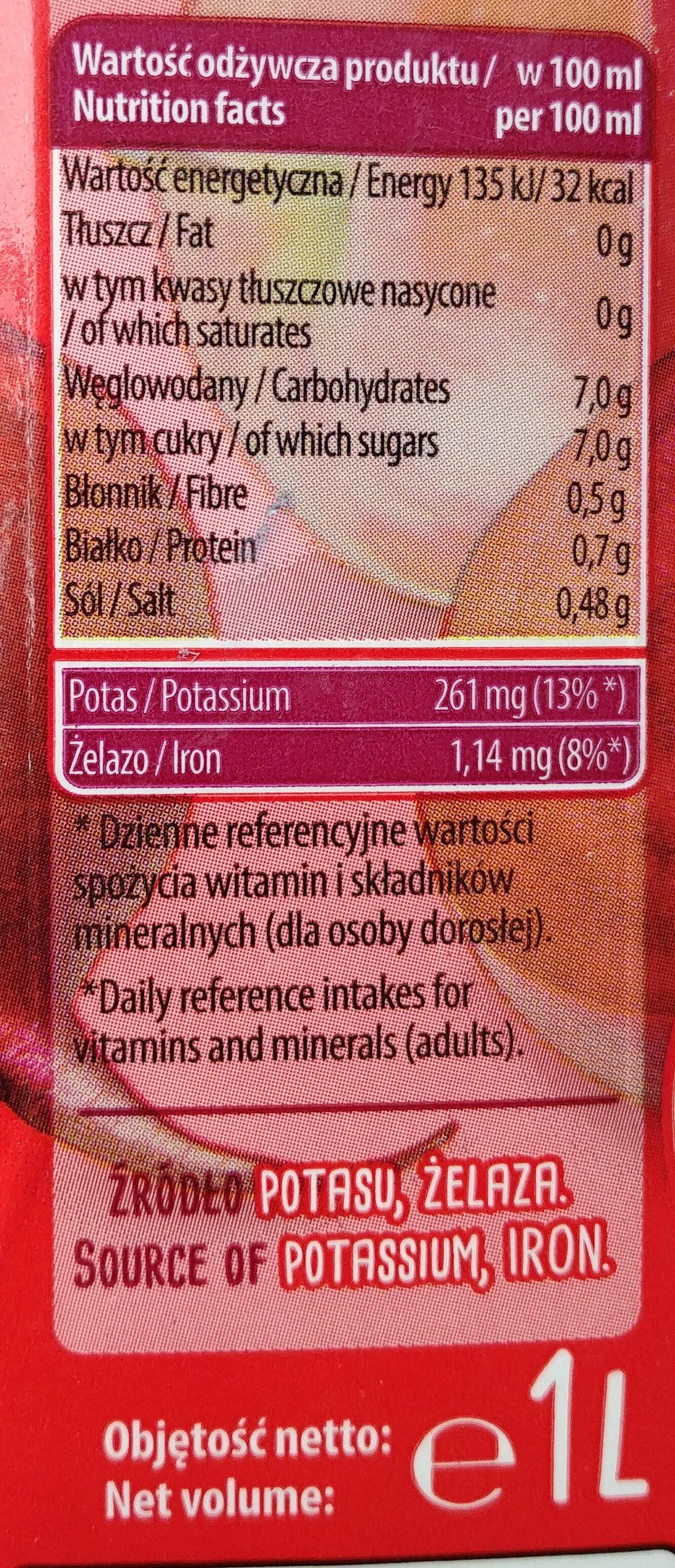 Sok z buraków z jabłkiem - Nutrition facts - pl
