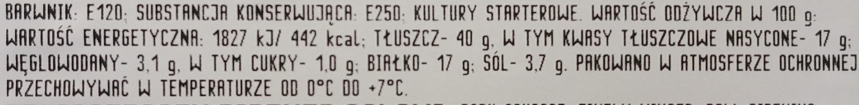 Salami Delikatesowe - Wartości odżywcze - pl
