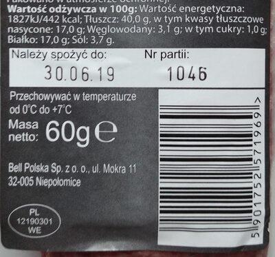 Salami naturalne - Wartości odżywcze - pl