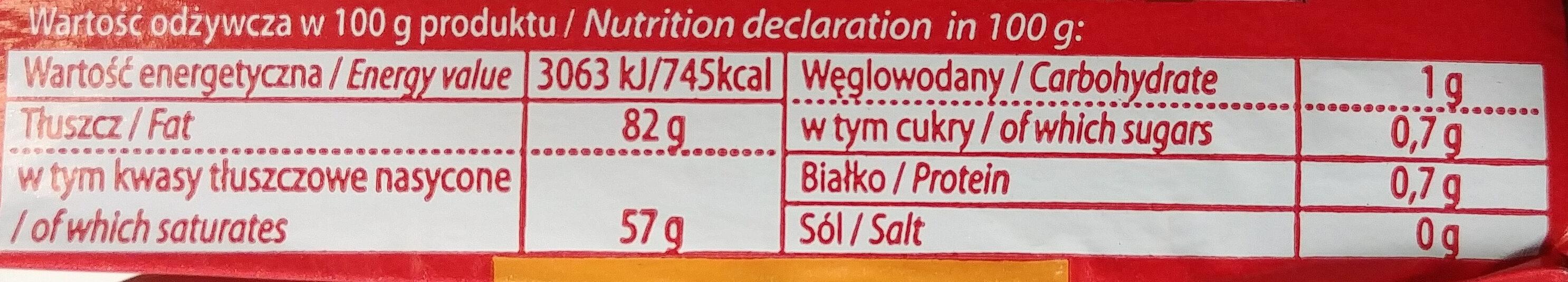 Masło królewskie - Wartości odżywcze - pl