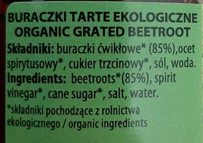 Buraczki tarte ekologiczne - Ingredients