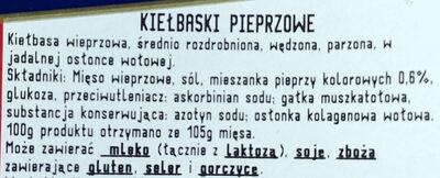 Kiełbaski pieprzowe - Ingrédients