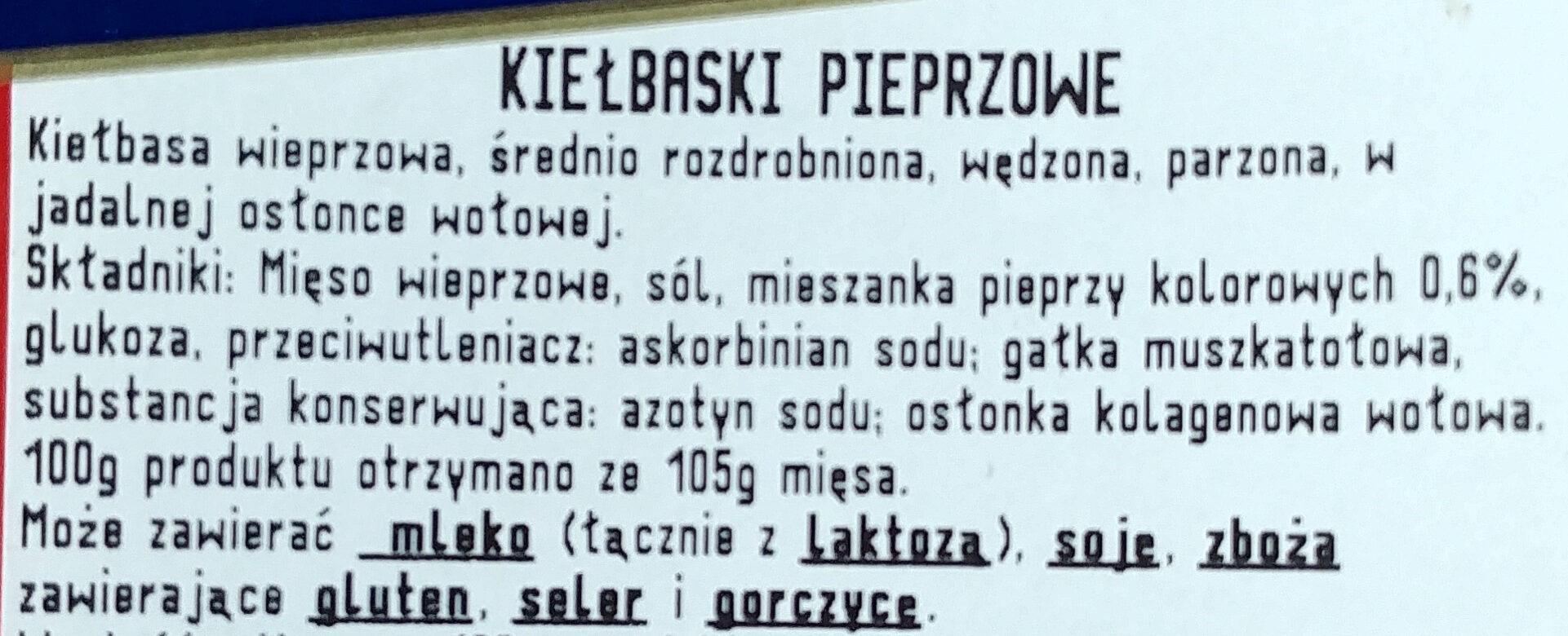 Kiełbaski pieprzowe - Składniki - pl