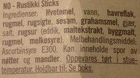 Rustikki Sticks - Ingredients - nb