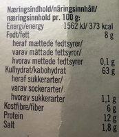 Rustikki Sticks - Nutrition facts - nb
