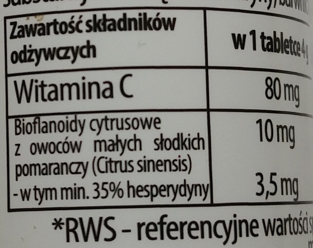 Witamina C + bioflawonoidy - Informations nutritionnelles