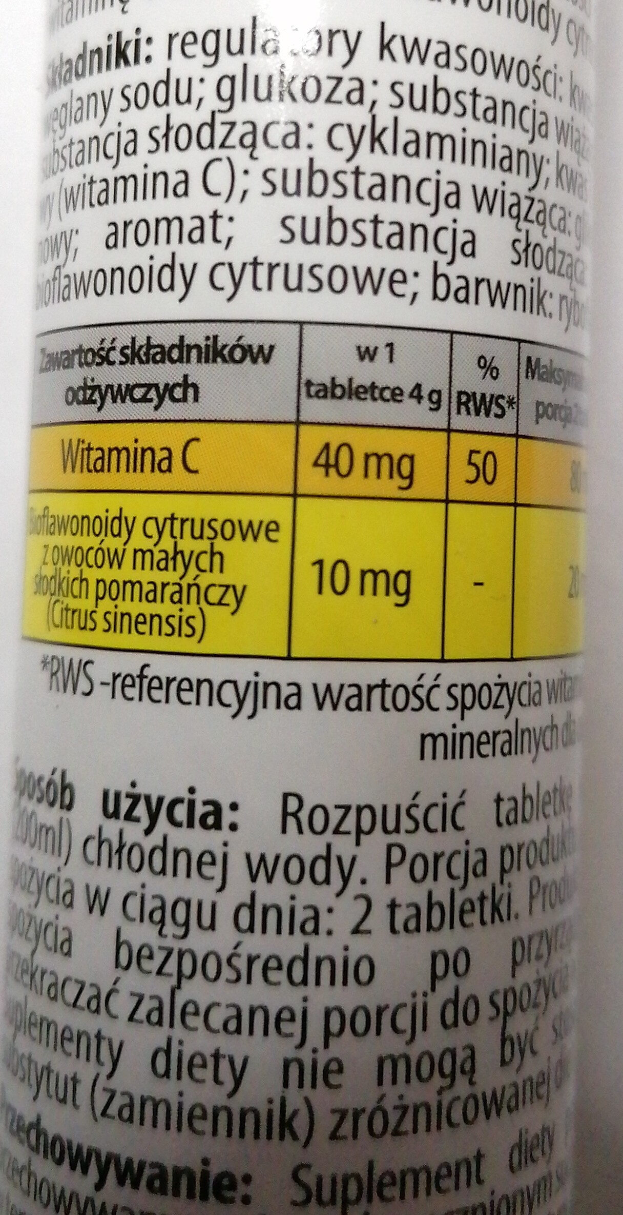 Witamina C plus Bioflawonoidy - Informations nutritionnelles