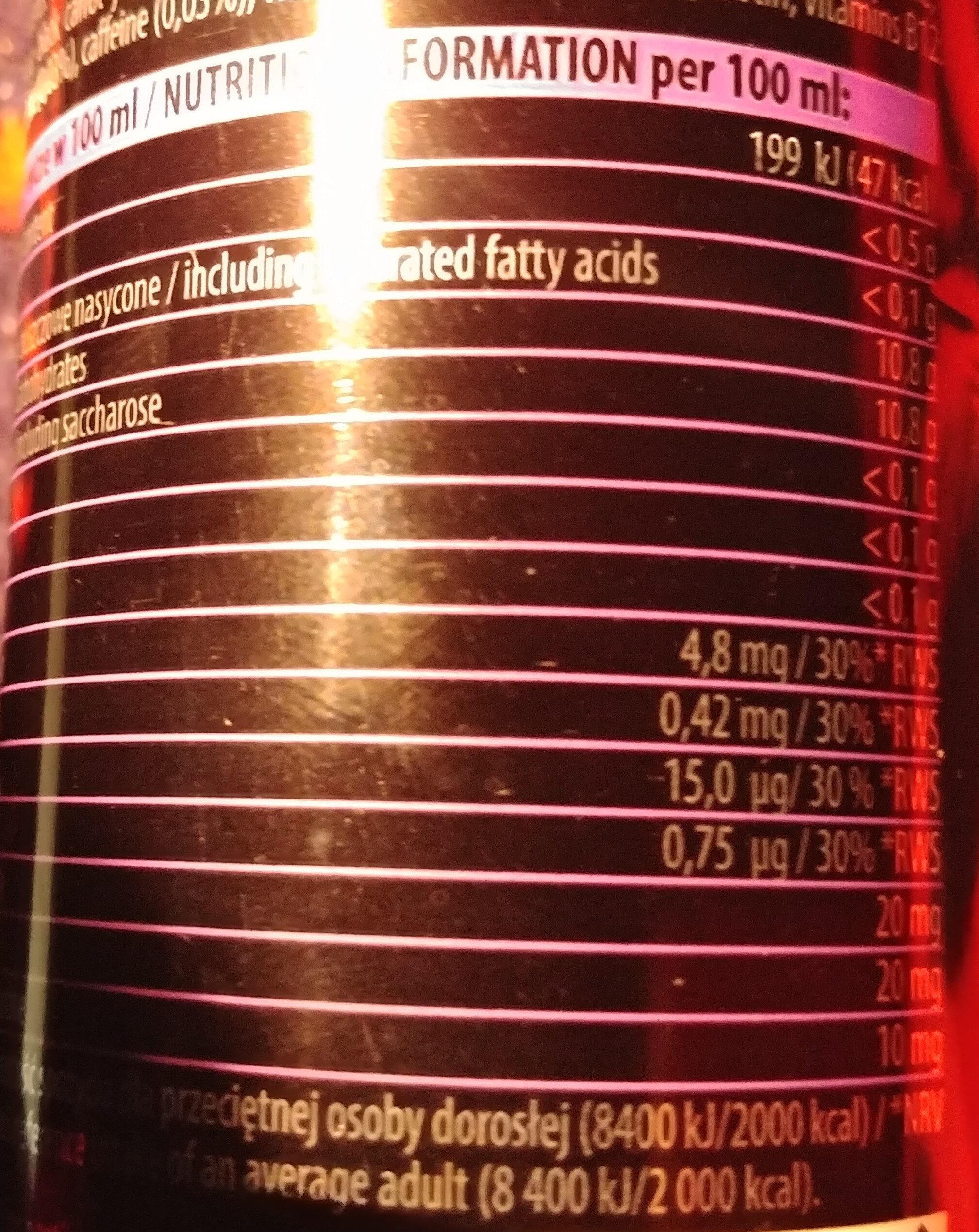 Napój energetyczny gazowany o smaku owocowym z aminokwasami - Wartości odżywcze