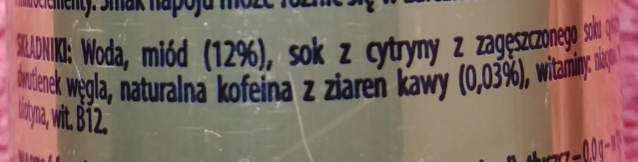 Napój energetyzujący z polskim miodem i kofeiną - Składniki