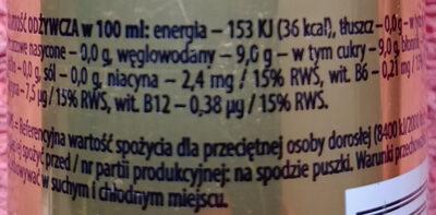 Napój energetyzujący z polskim miodem i kofeiną - Wartości odżywcze