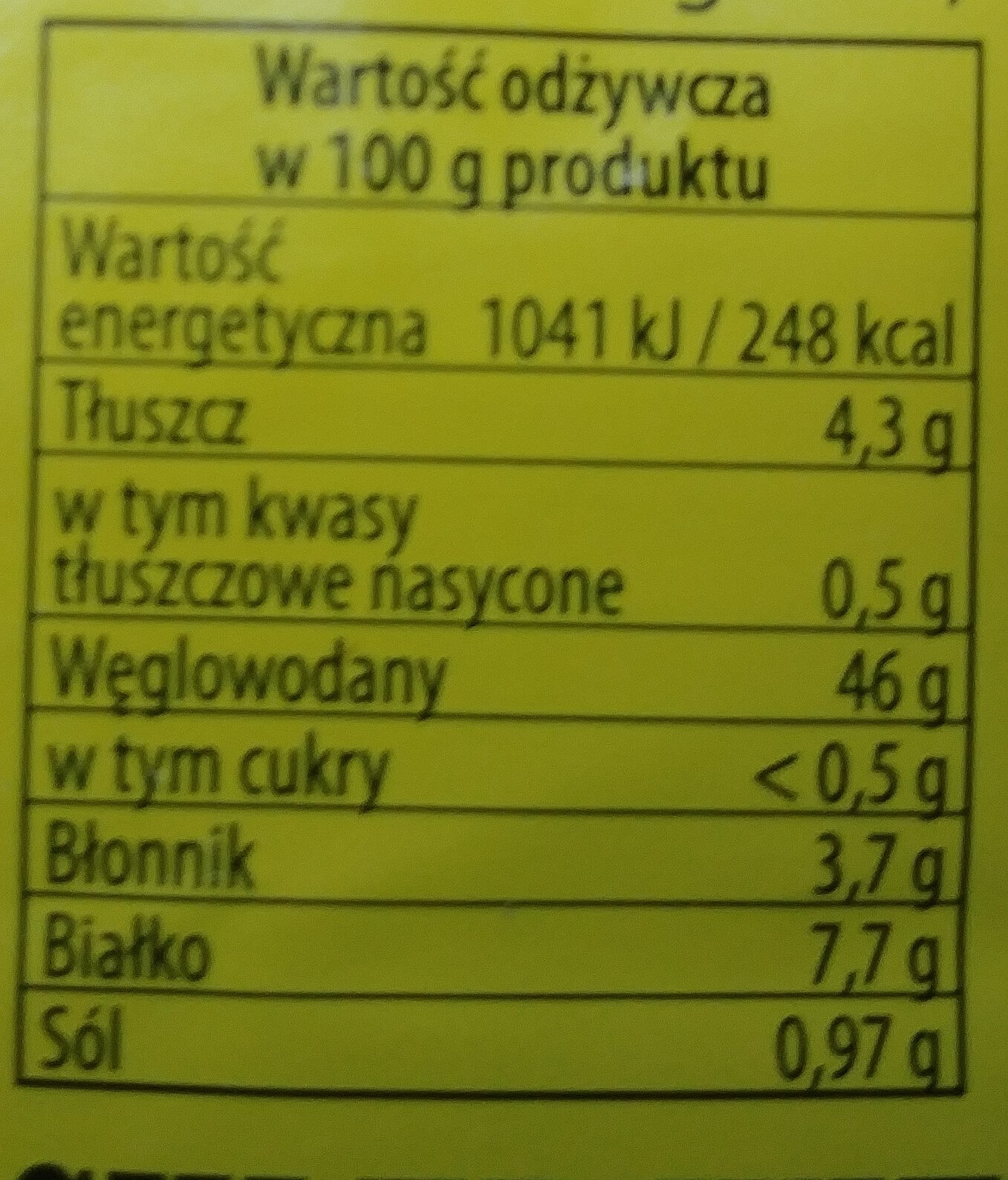 Chleb wieloziarnisty - Nutrition facts - pl