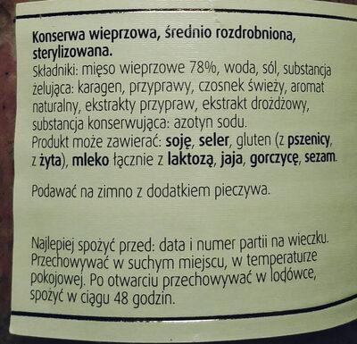 Kiełbasa biała - Ingredients