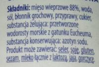 Kiełbasa krakowska - konserwa wieprzowa grubo rozdrobniona, sterylizowana - Składniki