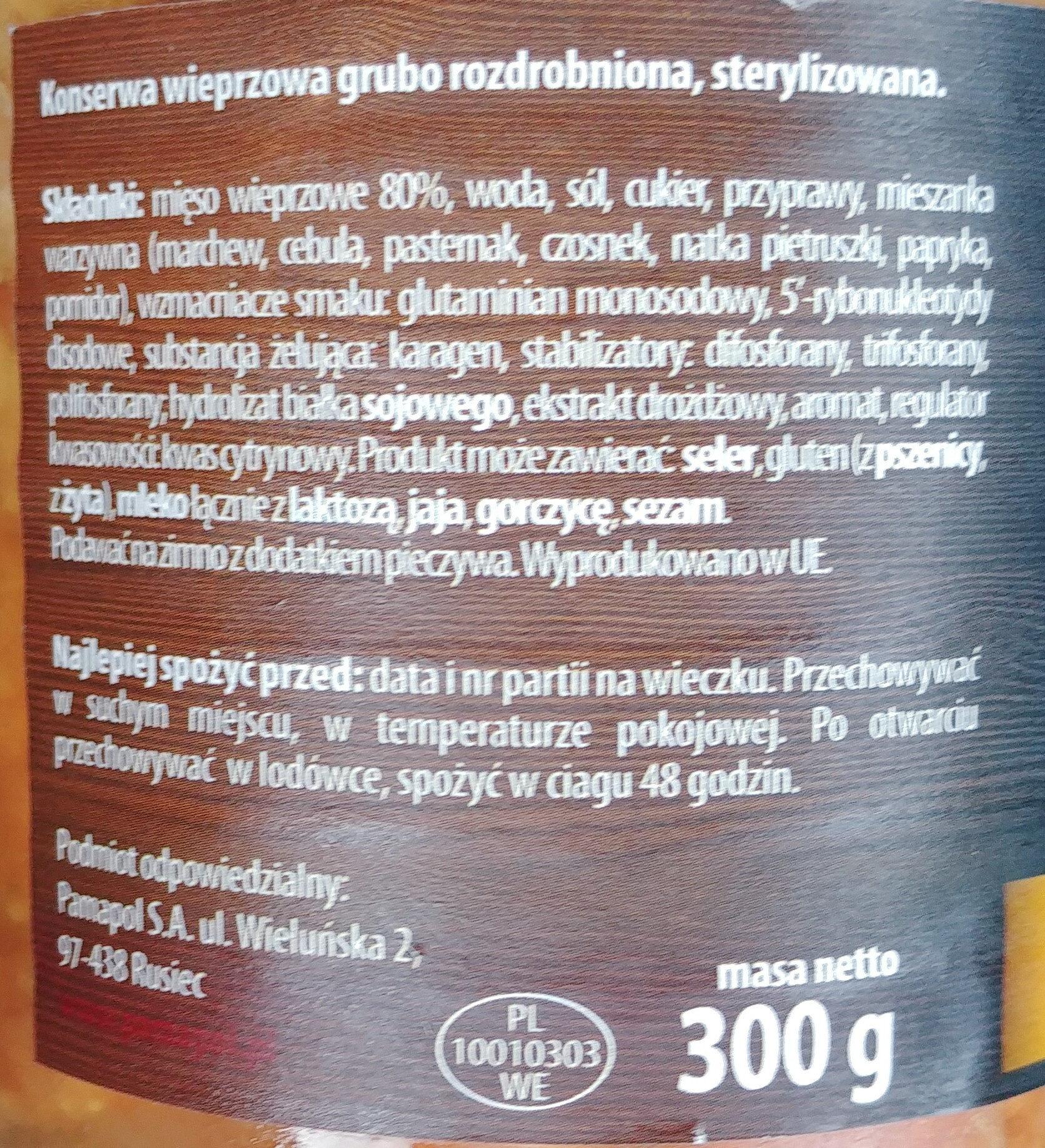 Konserwa wieprzowa grubo rozdrobniona - Składniki - pl