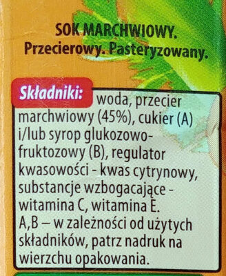 Sok marchwiowy przecierowy. - Składniki